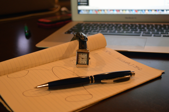 a watch and pen on a notepad with a mind map