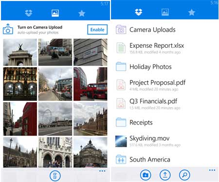 Dropbox App สำหรับ Windows Phone