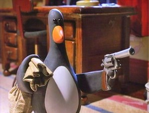 image of a naughty penguin from the film The Wrong Trousers