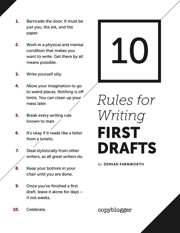 Image of 10 Rules for Writing a First Drafts Poster