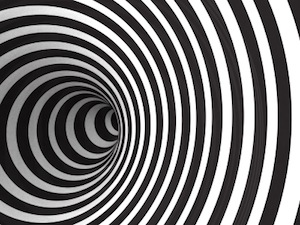 image of black and white spiral