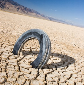 image of tire in the desert