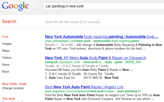 An example of SERP